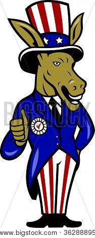 Democrata Donkey mascote polegares bandeira