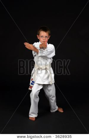 Traditional Karate Student Demonstrates Hand Block
