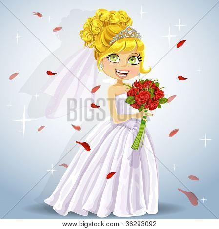 Wonderful shining bride with a wedding bouquet