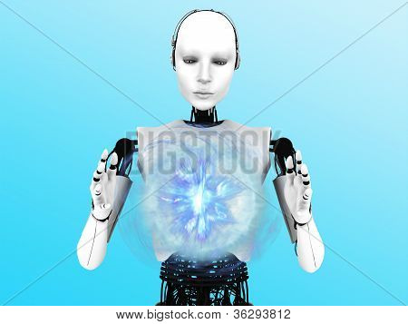 Robot Woman Holding Plasma Sphere.