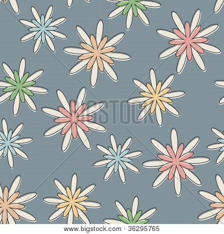 Retro Seamless Flower Background Pastel