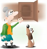 stock photo of nursery rhyme  - old mother Hubbard went to the cupboard to get her poor dog a bone - JPG