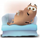 stock photo of couch potato  - a happy couch potato hanging out with a drink and his remote - JPG