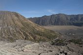 Mount Bromo And Batok Slope And Temple