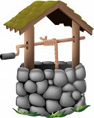 picture of wishing-well  - An old fashioned type wishing well made of stones and wood - JPG