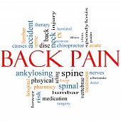 stock photo of lumbar spine  - Back Pain Word Cloud Concept with great terms such as injury lumbar spine treatment discs and more - JPG