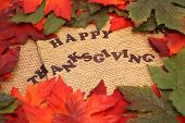 foto of happy thanksgiving  - happy thanksgiving surrounded by orange and green autumn leafs - JPG