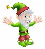image of pixie  - Cartoon happy smiling garden gnome elf or pixie man with a pointy hat and beard - JPG