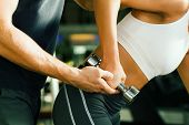 picture of personal trainer  - Young woman lifting a dumbbell in the gym assisted by her personal trainer  - JPG
