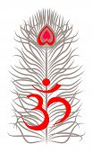 pic of sanscrit  - red symbol om with grey feather on white background - JPG