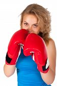 Постер, плакат: Красивая девушка с боксерские перчатки