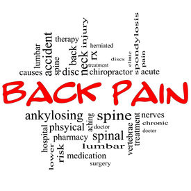 image of herniated disc  - Back Pain Word Cloud Concept in black and red letters with great terms such as injury lumbar spine treatment discs and more - JPG