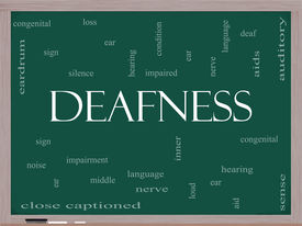 stock photo of inner ear  - Deafness Word Cloud Concept on a Blackboard with great terms such as nerve deaf hearing ear aid silence and more - JPG