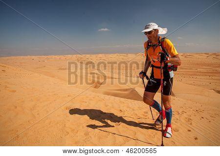 Man Running Extreme Desert Marathon In Oman