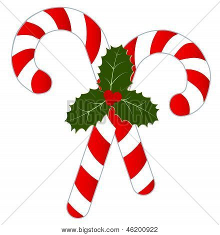 Candy Canes and Holly Isolated on White