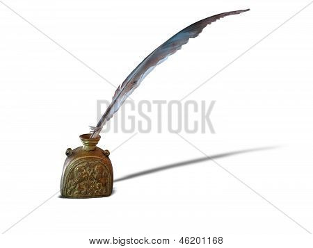 Antique Feather Pen And Ancient Copper Inkwell Isolated Over White