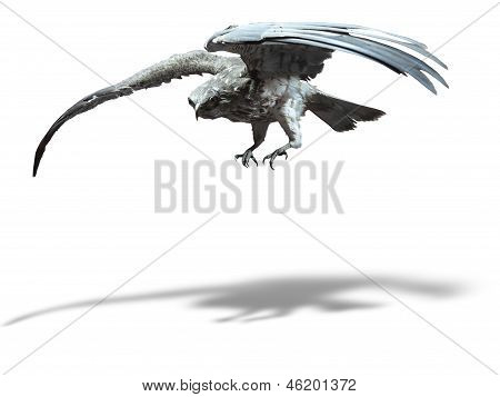 Saker Falcon In Flight Isolated Over White Background