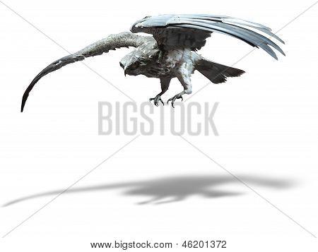 Saker Falcon In Flight Isolated Over White Background