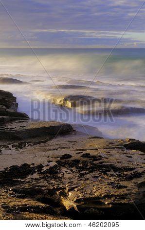Rocky Coastline and Ocean Waves