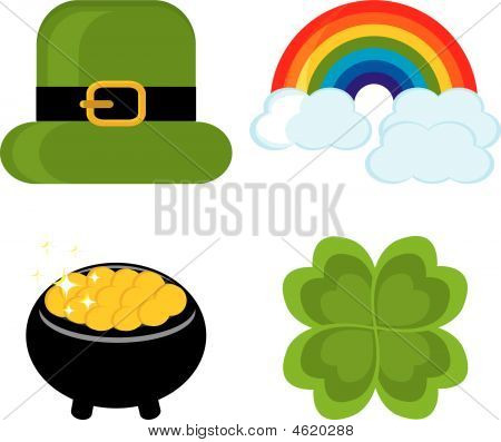 Set Of Icons For St. Patrick's Day hat Rainbow Clover Leaf Pot