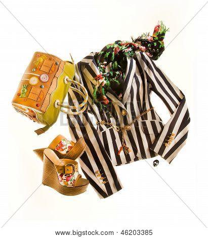 Striped Blazer Fashion Composition