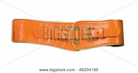 Wide Orange Leather Belt