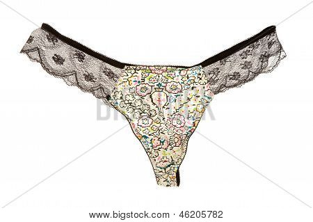 Naif Flowers And Black Lacework Transparent Panties