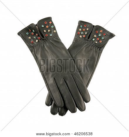 Dark Grey Leather Gloves With Colorful Crystals