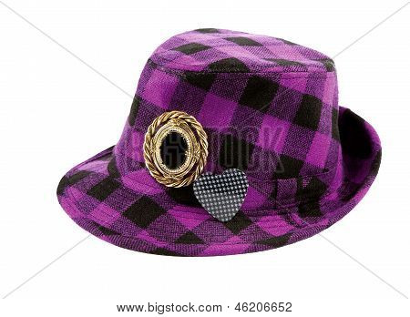 Purple Squares Borsalino With Brooches