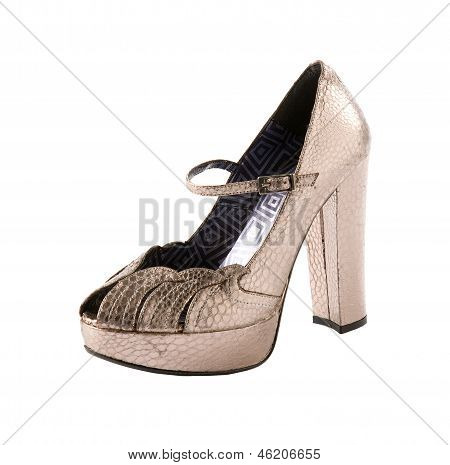 Snake Leather Metallic Ankle Strap High Heel