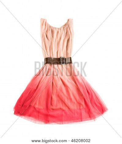 Pink Tulle Tie Dye Evase Tank Dress With Wide Leather Belt