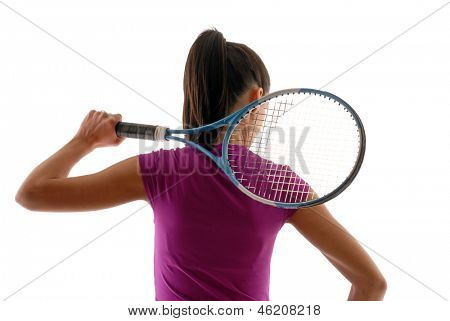 Young woman holding a tennis racket and water bottle on white background.
