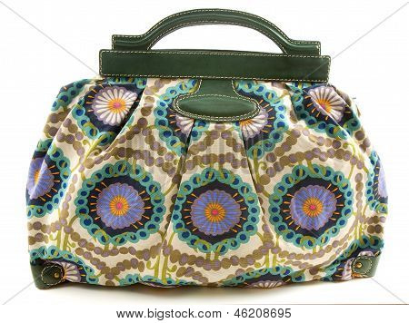 Flowery Canvas And Leather Handbag
