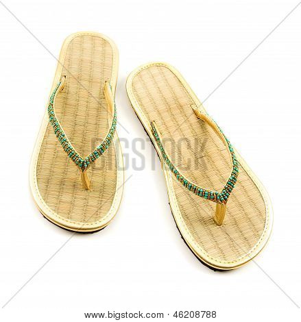 Raffia Golden Beaded Flip Flop Sandals