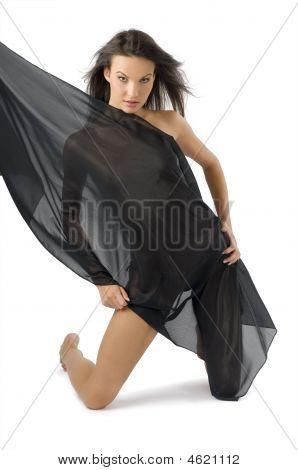 Cute Girl Black Material