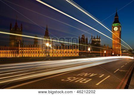 Light trails at Westminster