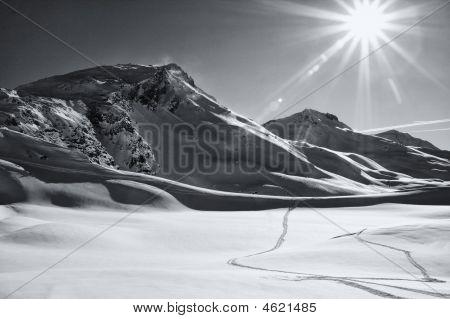 Sunlit Winter Landscape. Switzerland