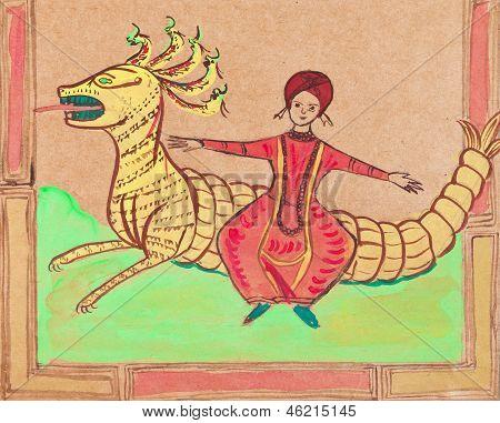 Persian Prince Flying On Dragon
