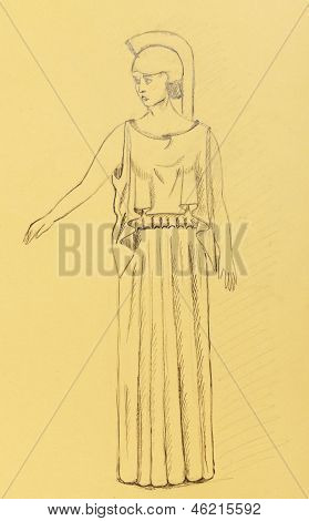 Woman Dressed As An Ancient Greek Warrior
