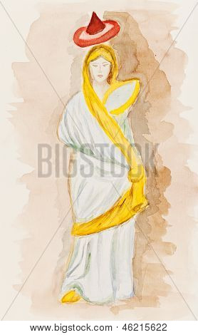 Antique Greek Woman In Himation