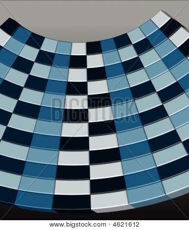 Blue 3D Checkerboard - Vector Illustration