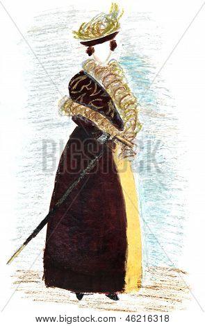 Frauen voll zu Fuß Kleid späten 19. Jh.