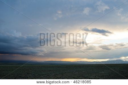Sunset in field at Altay  mountain.