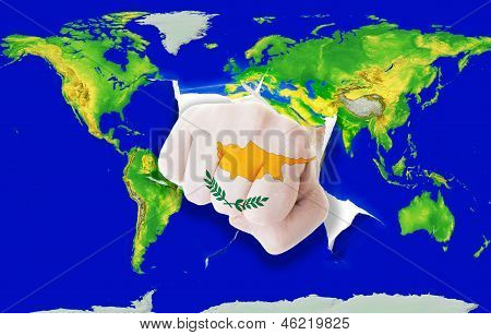 Fist In Color  National Flag Of Cyprus    Punching World Map