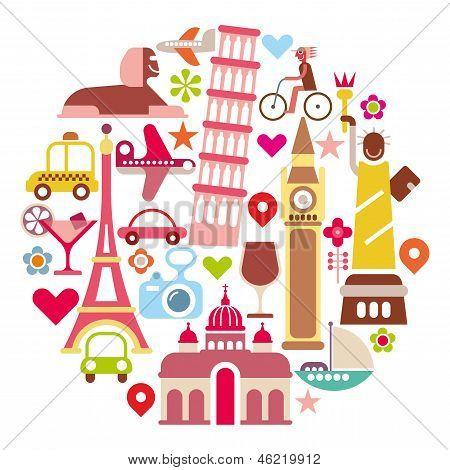 Landmark Travel - Round Vector Illustration