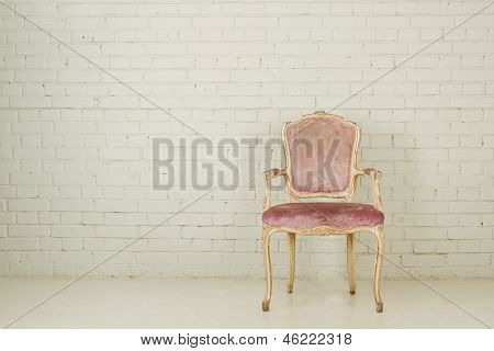 Vintage Chair In Empty White Room