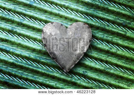 Galvanized Metal Heart On Metal