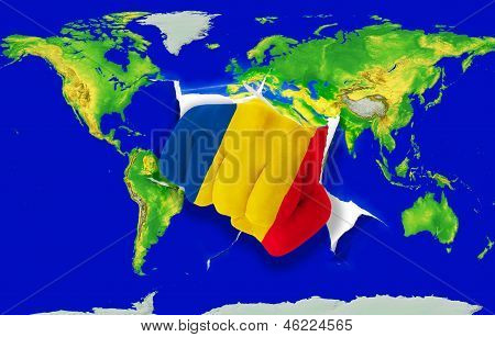 Fist In Color  National Flag Of Romania    Punching World Map