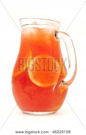 fresh lemonade from orange and berries isolated
