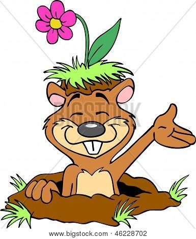 Happy Gopher With Flower